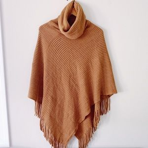 Mustard Brown Cowl Neck Ribbed Sweater Poncho